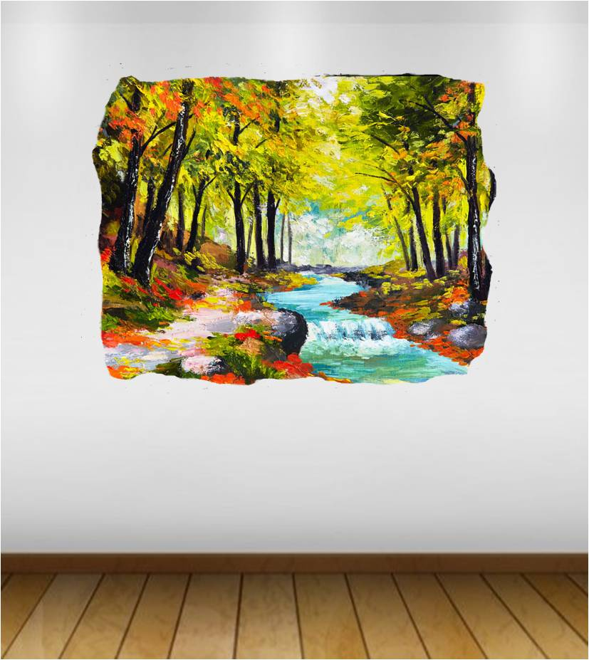 stream forest oil canvas