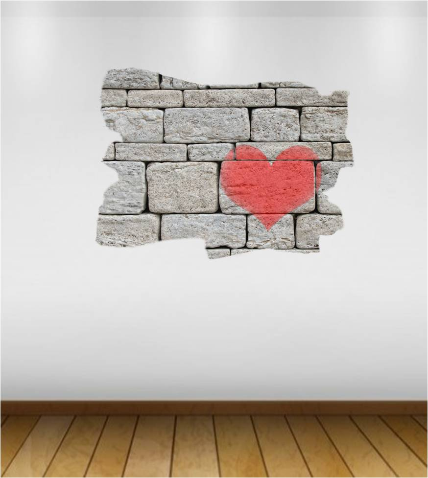 Heart on cinder block wall