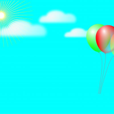 cartoon sky and balloon backdrop