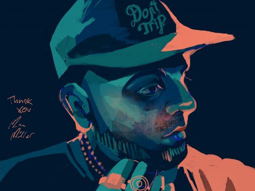 An illustration of Mac Miller,