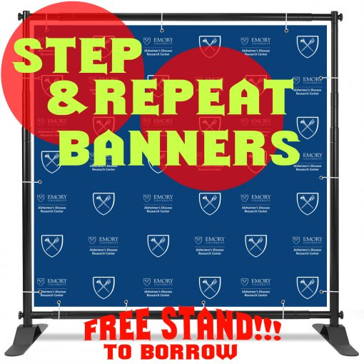 step repeat backdrop banner wth stand