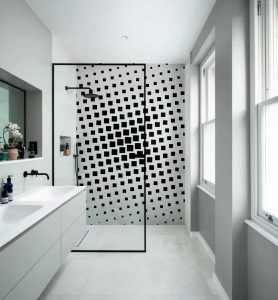 black white check wall shower