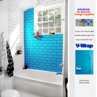 Bathroom Wall Tile Color Change & Graphics